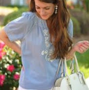 J crew factory embroidered peasant top
